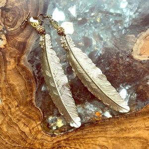 Gold Feather Statement Earrings